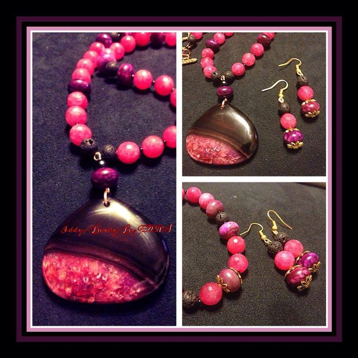Pink and black agate necklace with geode pendant  https://www.facebook.com/IddyBeadyByFARS
