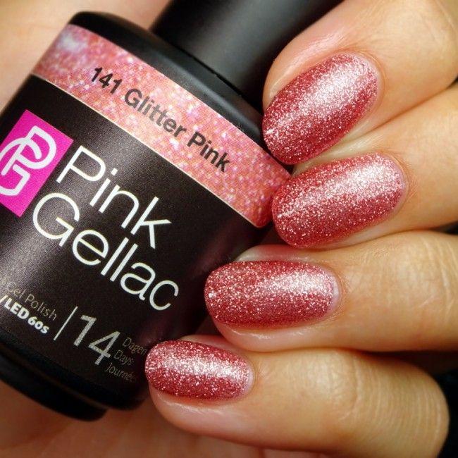 Pink Gellac 141 Glitter Pink Gel-Nagellack via pinkgellac.com