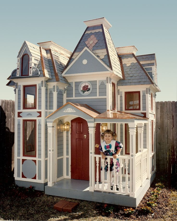 OMG...I soooo wish I had one of these when my baby was little!!!  Too Cute!!  Victorian playhouse based on the Parrot-Camp-Soucy home near Atlanta GA. Working lights and doorbell. Handmade shingles, copper porch roof and flashing, real stained glass.