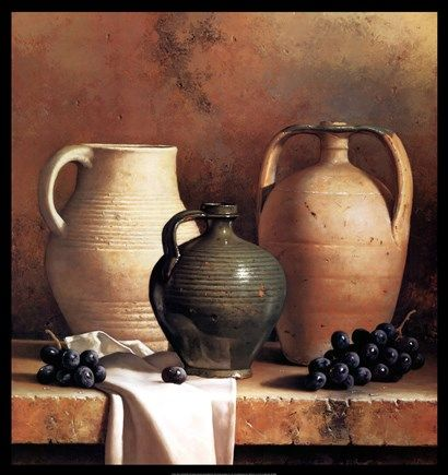 Earthenware with Grapes Fine-Art Print by Loran Speck at UrbanLoftArt.com