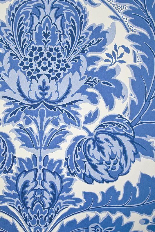 Coleridge Damask Wallpaper An elegant White Damask wallpaper with rich and sky blue motif.