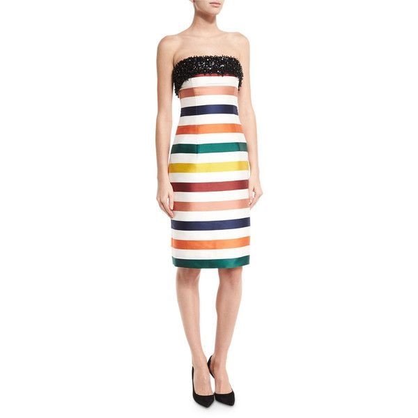Carolina Herrera Strapless Striped Beaded Cocktail Dress ($4,990) ❤ liked on Polyvore featuring dresses, multi colors, sheath cocktail dress, white striped dress, white strapless dress, white strapless cocktail dress and stripe dresses