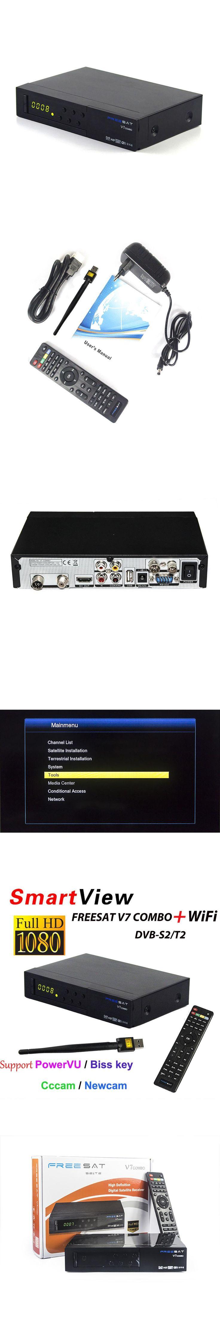 [Genuine] Freesat V7 Combo receptor HD Satellite Receiver DVB-S2 DVB-T2 Support PowerVu Biss Key Cccam Newcam Youtube DVB S2 T2