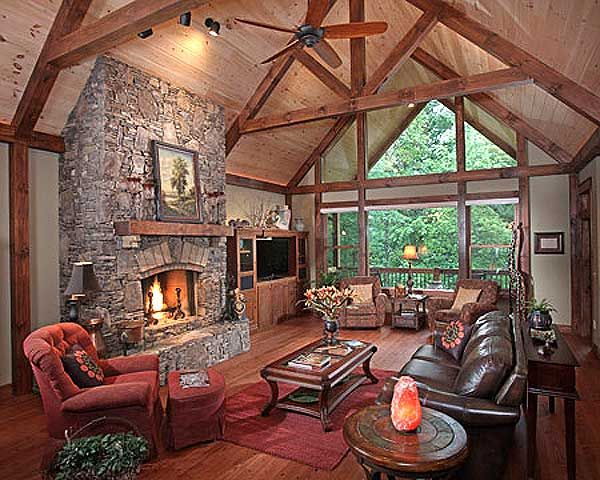 Vaulted interior of Mountain Home Plan 24111BG, almost 5,000 sq. ft. Of living space