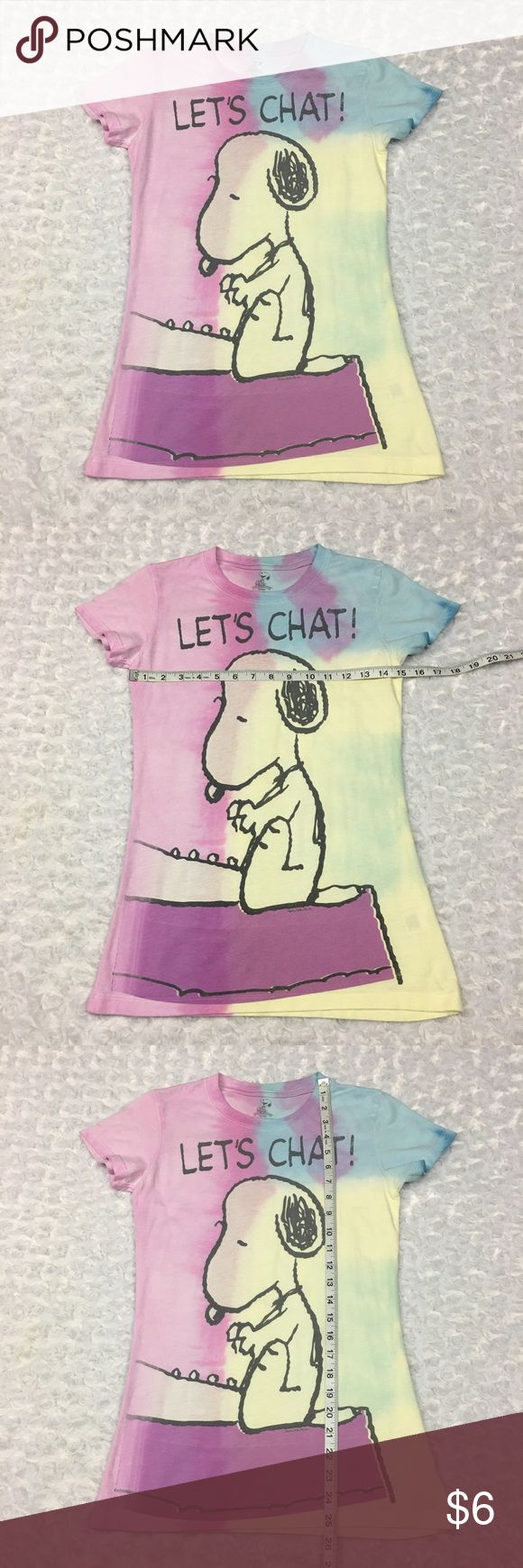 Snoopy Colorful Tyedye Juniors Tshirt Let's Chat! Snoopy Peanuts Colorful Tyedye Capsleeve Novelty Juniors Med Tshirt Let's Chat!  Size: Juniors Medium. SEE PHOTOS FOR MEASUREMENTS  Condition: Some normal wear from washing. SEE PHOTOS  * This listing is for ONE (1) Top *  Please note: Colors may vary slightly due to different display screen calibrations.  [A-27] Snoopy Peanuts Tops Tees - Short Sleeve