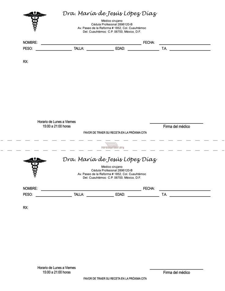 Formato de receta medica para imprimir | Logos | Receta