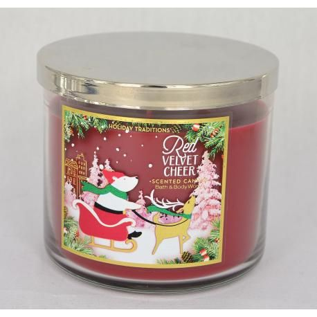 Bougie parfumée 3 mèches RED VELVET CHEER Bath and Body Works
