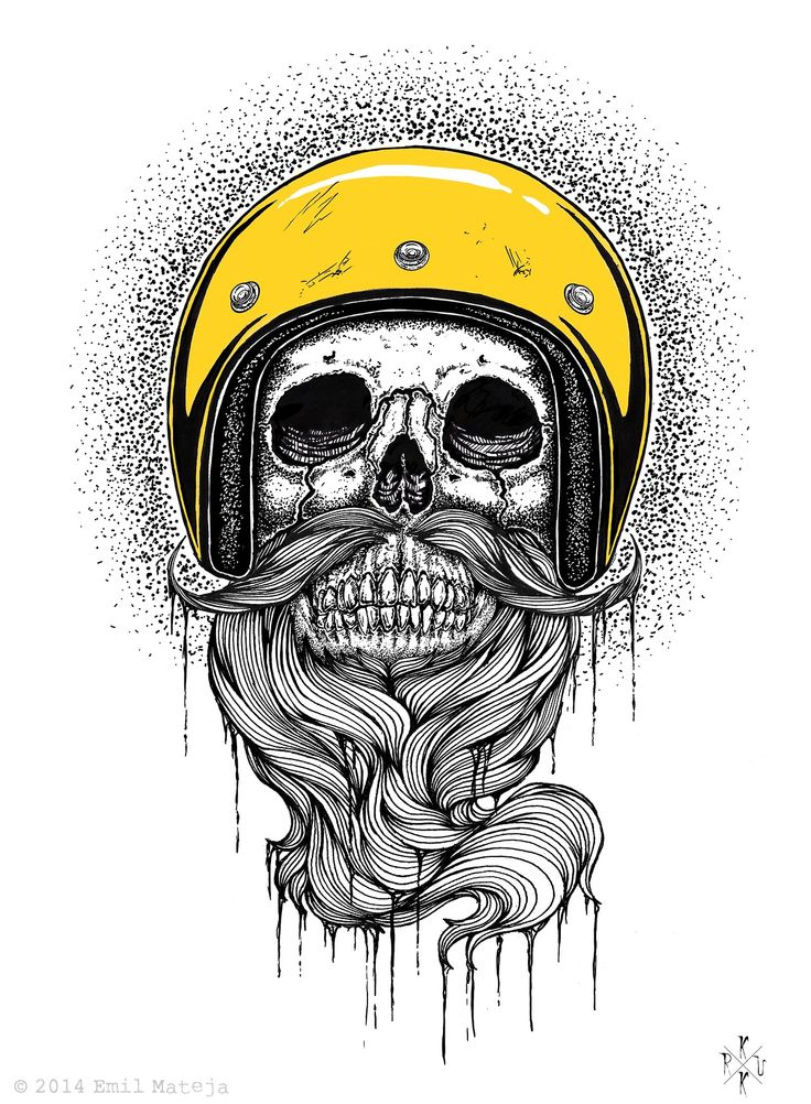 Ematique - beard art artwork print beards bearded man men mustache skull skeleton skulls biker bikers motorcycles illustration