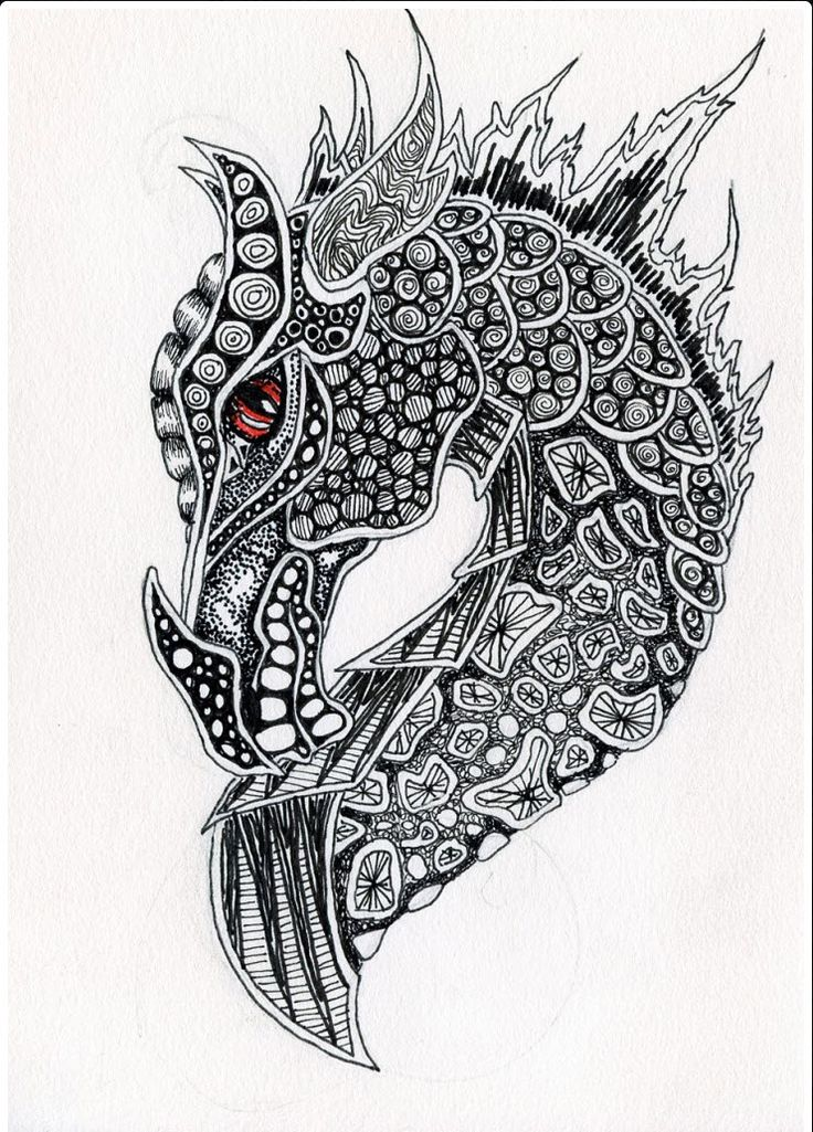 Zentangle Dragon #dragon #tattoos #tattoo
