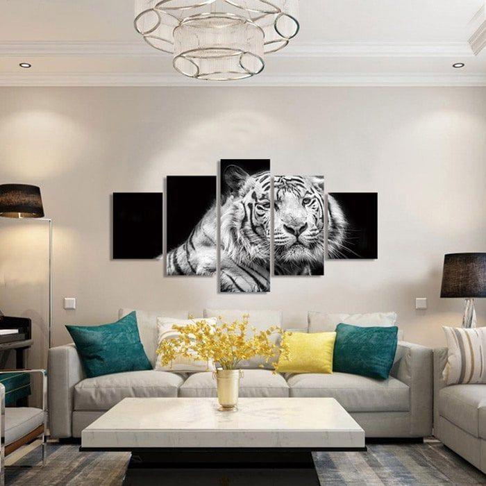 2118 Tiger Living Room Decorative Paint 5pcs Tiger Painting Room Bedroom Decor White tiger living room decor