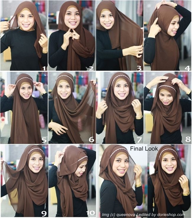Tutorial Kreasi Pashmina Cantik With Headband - Dorie Shop