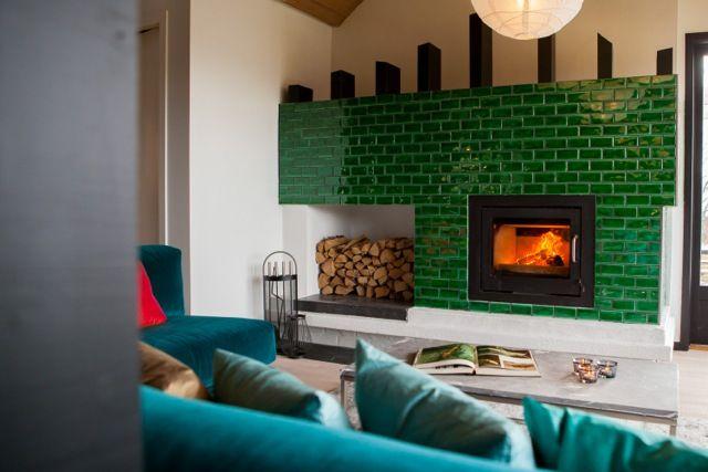 Beautiful green glazed tiles -  Using Biophilic Design principles - Interior design work by Oliver Heath Design for TV2's Tid for Hjem in Norway  Photograph by Jan Inge Mevold Skogheim