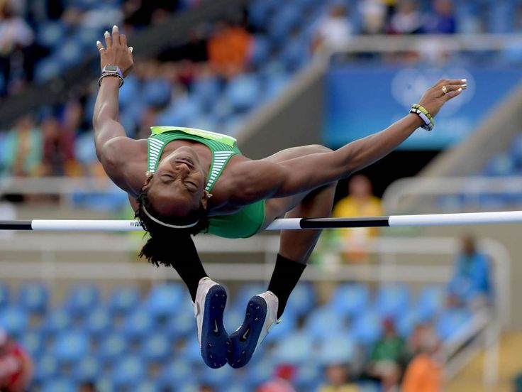 Track and field at the Rio Olympics  -     Uhunoma Osazuwa of Nigeria competes in the women's heptathlon high jump event at Estadio Olimpico Joao Havelange in the Rio 2016 Summer Olympic Games.
