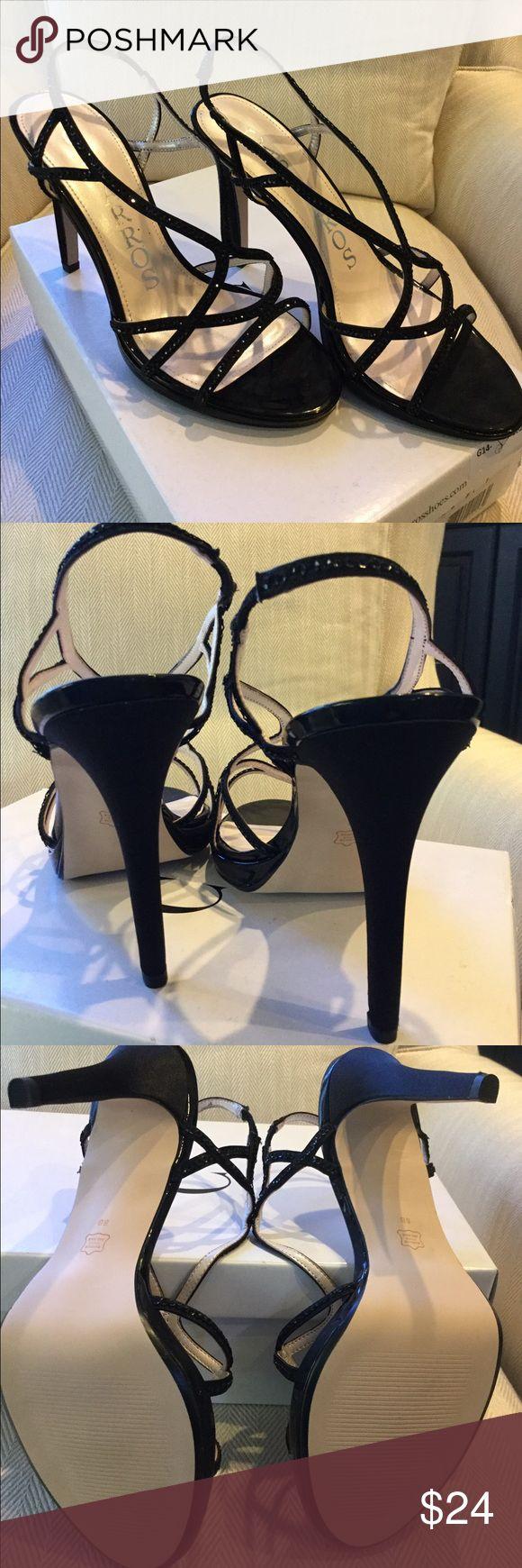 "Black satin sparkle Caparros special occasion shoe Black Satin Zarielle shoe. New with box. Size 8M. Sparkles on straps. Heel approx. 5"" with .25""-.5"" platform. Caparros Shoes Heels"