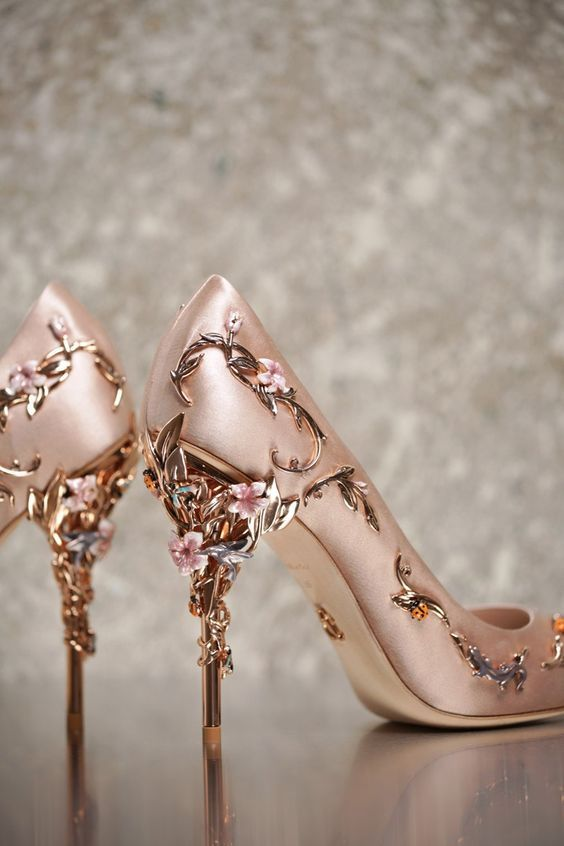 Ralph And Russo Eden Wedding Pumps In Vintage Pink With Rose Gold Ornamental Filigree Leaves Spiralling
