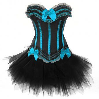 Black Green Corset Dress Bustier Tops Ruffle Lace Satin