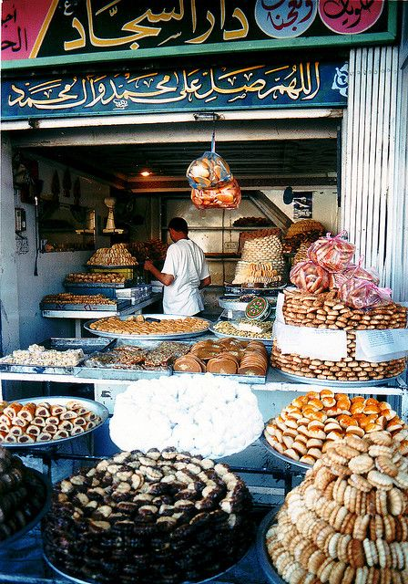 Sweetshop in Karbala, Middle Eastern dessert + cookies; photo: David Enders