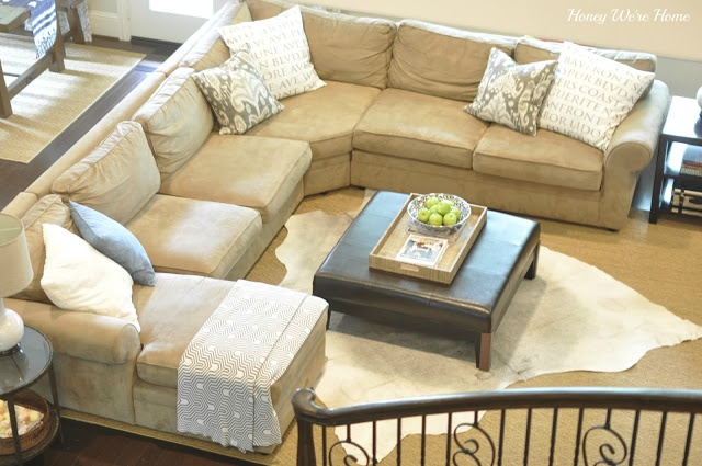 Honey We Re Home Cowhide Rug Love Our Updated Living