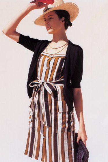 Amber & White Striped Dress, Black Cardigan, Sun Hat // vacation