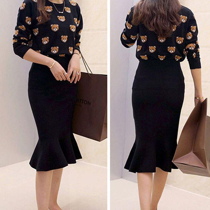 Aliexpress.com: Compre 2016 Moda Na Altura Do Joelho Comprimento Mulheres Saias Primavera Outono de Cintura Alta de Malha Midi Saia…