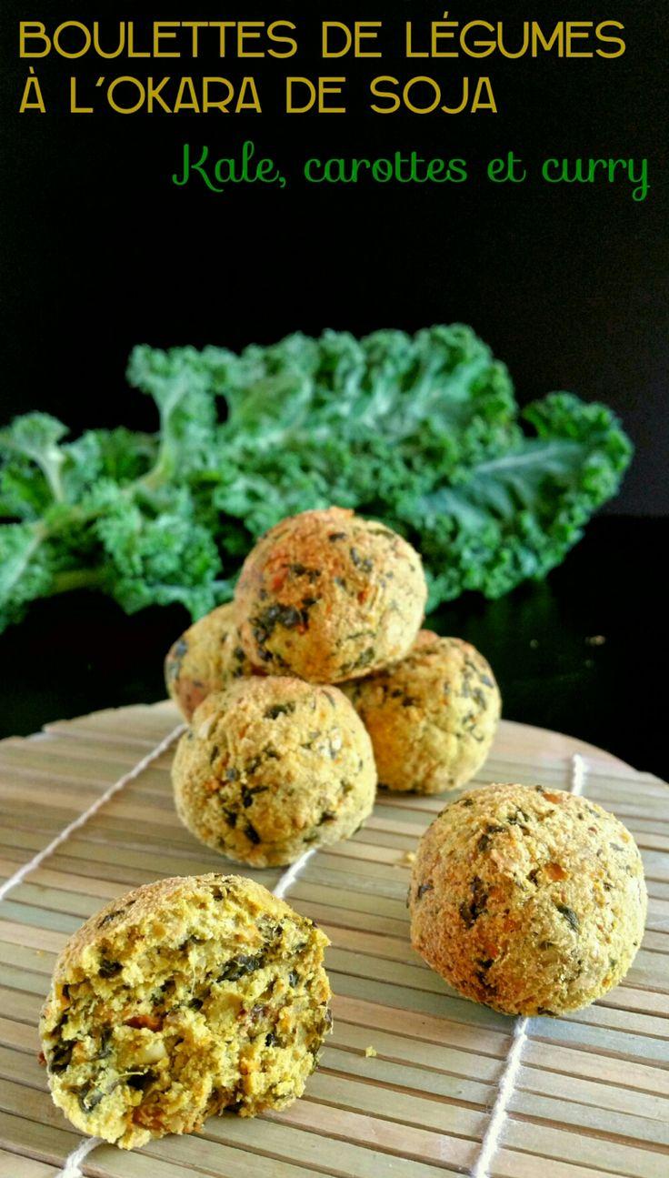 Boulettes de légumes à l'okara de soja : kale, carottes et curry. Recette anti-gaspi