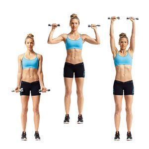 Armed For Summer:  Arnold - Stand with your feet hip-width apart, holding a pair of dumbbells in front of your thighs, palms facing away from you. Curl the weights to shoulder height, then rotate your hands so that your palms face forward and press the dumbbells toward the ceiling until your arms are extended directly overhead. Pause, then reverse the movement to return to start. That's one rep.
