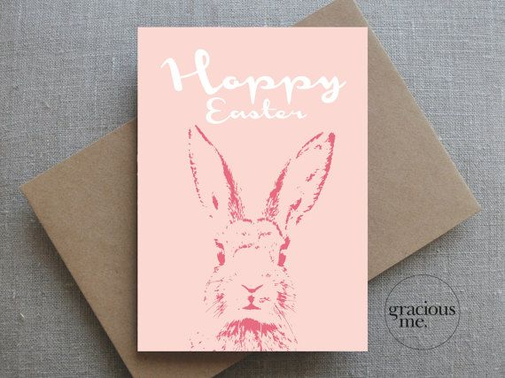 Happy Easter Card, Easter Card, Bunny Rabbit Card - Hoppy Easter  A cute Hoppy Easter bunny card for someone special.  Pastel peach and pink