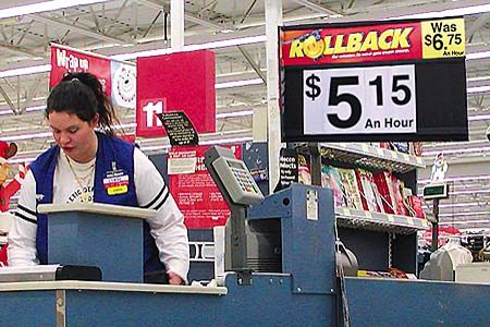 Picture Of Wal-Mart Cashier With Rollback Ad. Louisville, KY