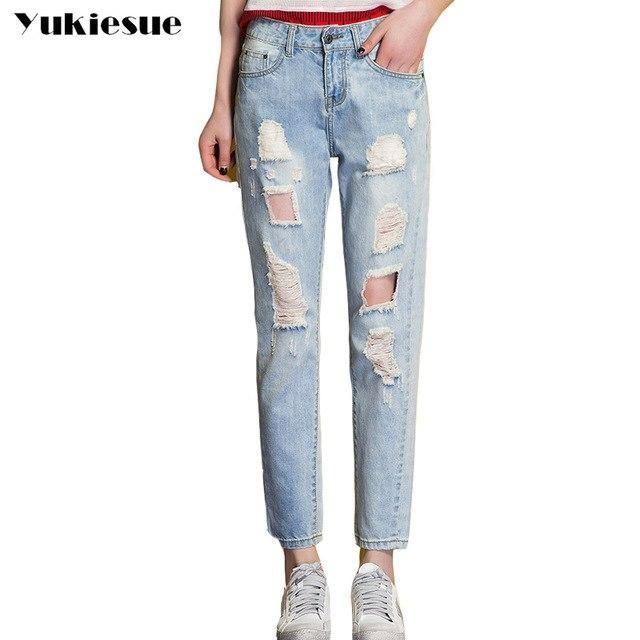 Ripped Jeans Women Summer 2017 Boyfriend Jeans Women Loose Blue Long Pants Harem Pants Hole Denim Denim Shorts Summer Casual Trousers Women Casual Denim Jeans