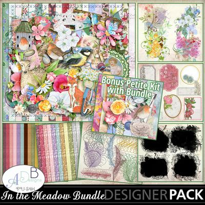 In the Meadow collection by ADB Designs is breezy and fun and perfect for all types of images from yesterdays snaps of kids in the park to heritage photos of your great great grandparents.  An absolute gorgeous bundle to work with. I love everything in this collection.