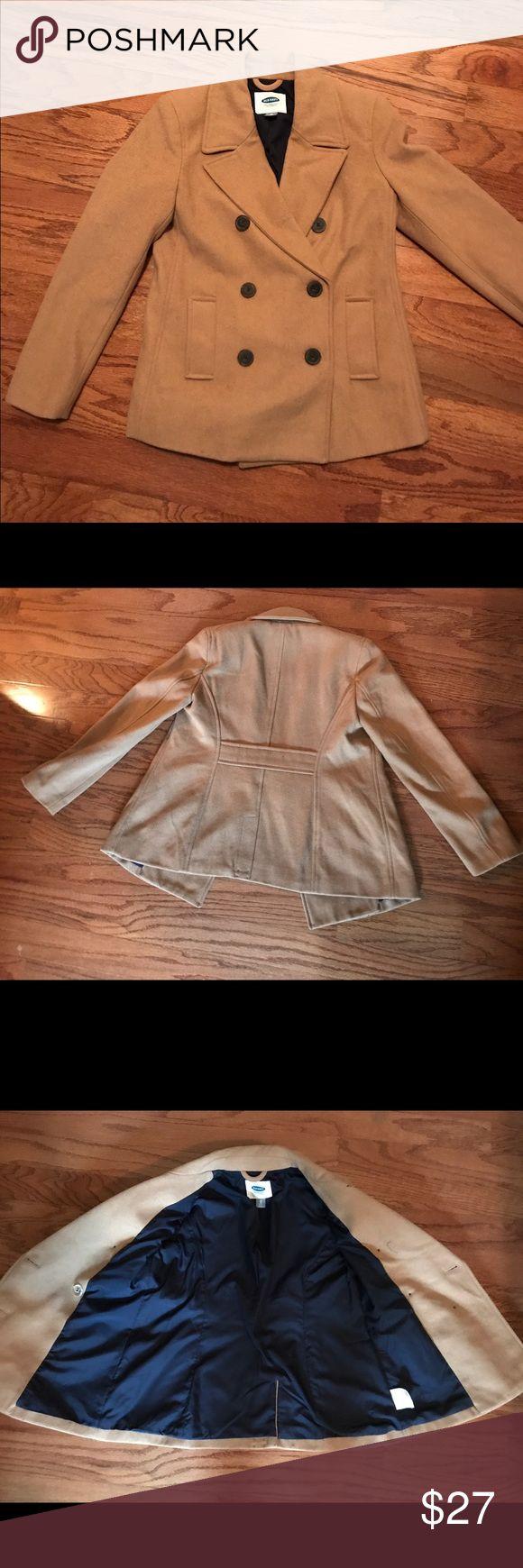 Old Navy pea coat Like new Old Navy camel/tan pea coat with navy interior. Worn once! XS TP(petite) Old Navy Jackets & Coats Pea Coats