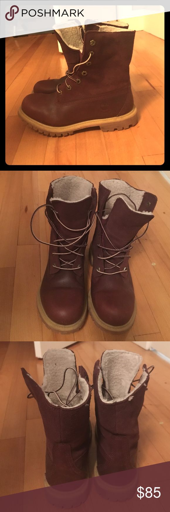 Burgundy timberland boots size 4.5Y Timberland boots size 4.5Y which is a 6-6.5 in women's. Suede and leather material, very cute and lightly worn Timberland Shoes Winter & Rain Boots