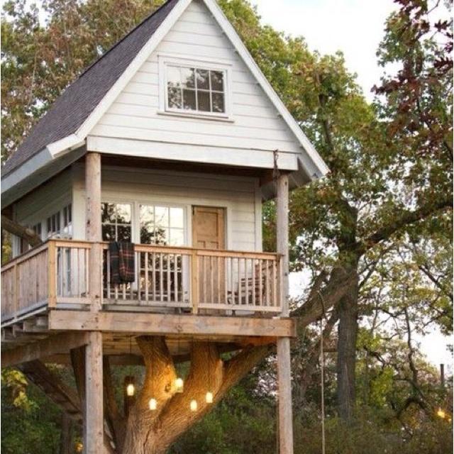 Tree house house. :): Cool Trees Houses, Dreams Houses, Hammocks, Playhouses, Treehouse, Guest Houses, Kid, Dreams Trees Houses, Awesome Trees Houses