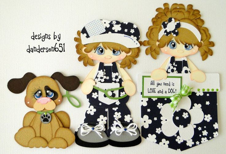 newly listed on ebay...danderson651 paper piecing, scrapbooking, embellishments, girls, dog