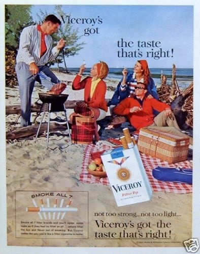 1963 Viceroy Cigarettes Two Couples Beach Picnic Steak Barbecue Vintage Print Ad | eBay