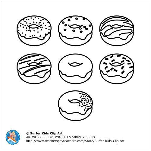 B & W Donuts, color them yourself, it could be great fun for kids