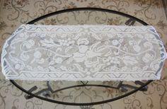 Filet Crochet Table Runner Table Topper Dresser by RamblinRanch