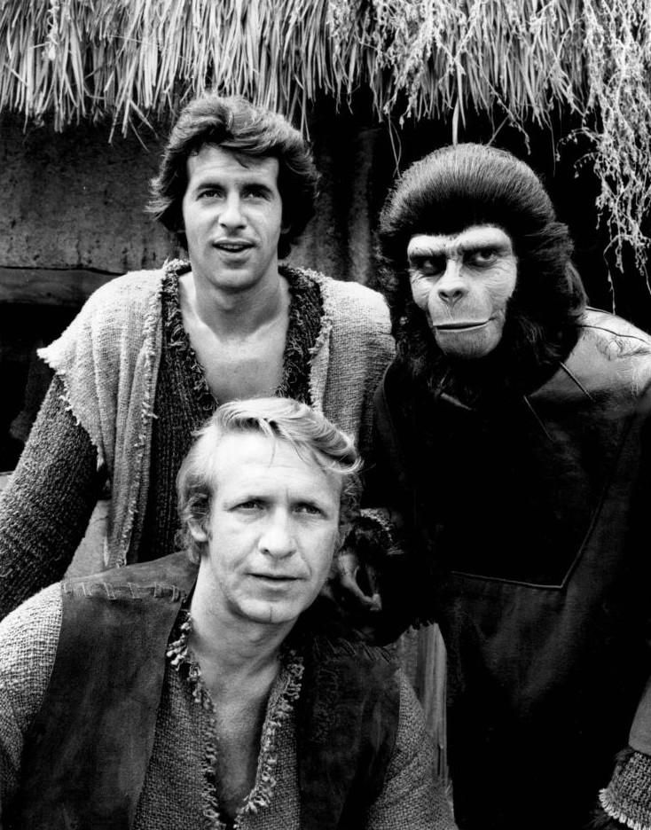 McDowell with co-stars Ron Harper and James Naughton in the Planet of the Apes TV series (1974)