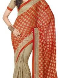 Buy Orange and Beige printed chiffon saree with blouse brasso-saree online