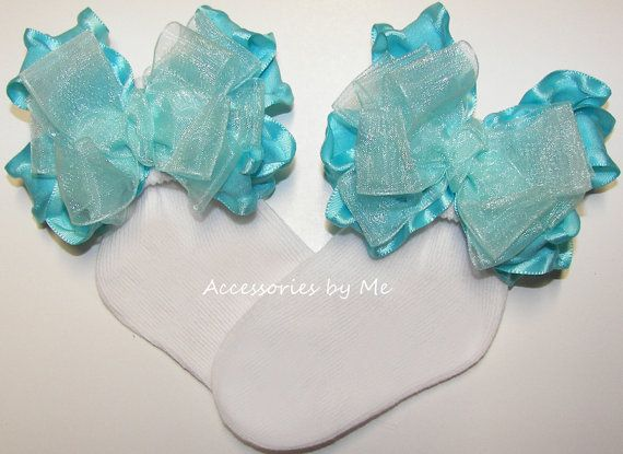 Baby Ruffle Bow Socks Turquoise Ribbon Bows by AccessoriesbyMe