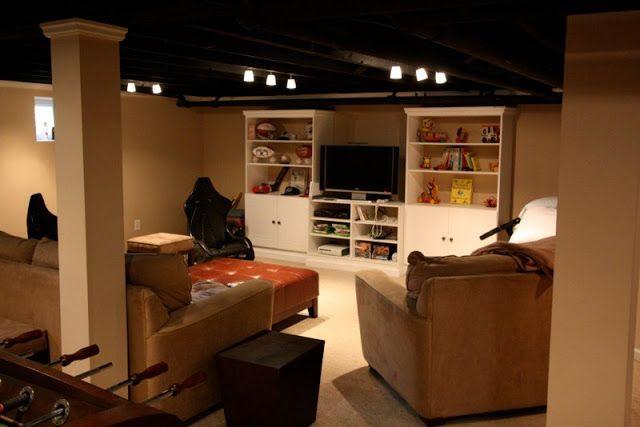 1000 ideas about open basement on pinterest unfinished for Black ceiling basement ideas