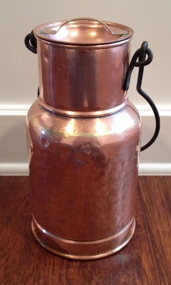 12in tall milk jug only bottom marked holland rare antique farmhouse copper - Copper Pots