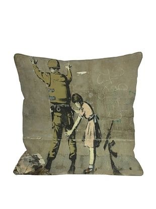 56% OFF Banksy Girl with Soldier Pillow