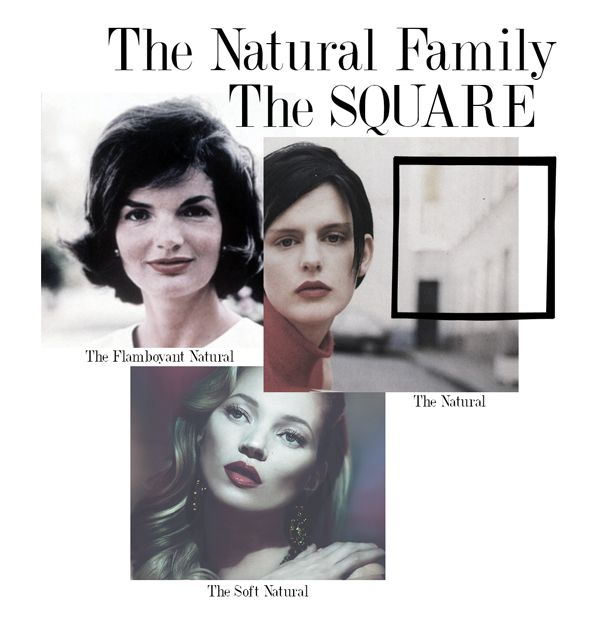 The Shape for the Natural Family is the Square. Within the Natural Family there are three Style Archetypes: The Flamboyant Natural, The Natural and The Soft Natural.
