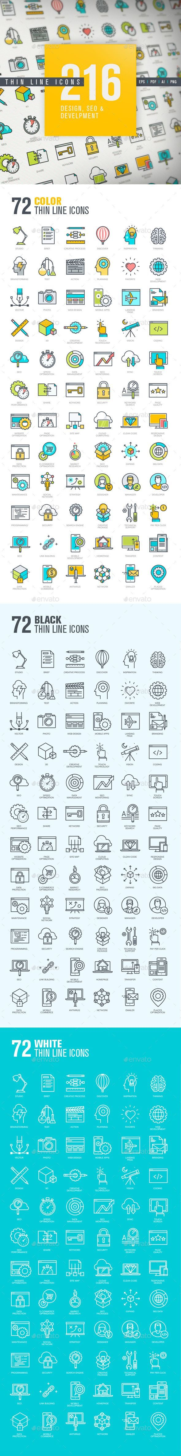 Business infographic : Thin Line Icons for Design, SEO and Development #design Download: graphicriver.n