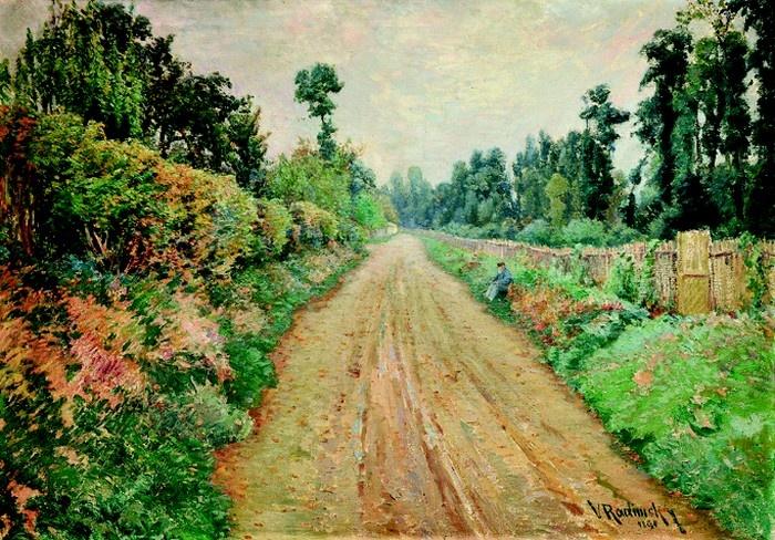 Václav Radimský; Cesta v Giverny (Claude Monet při odpočinku na cestě), 1894