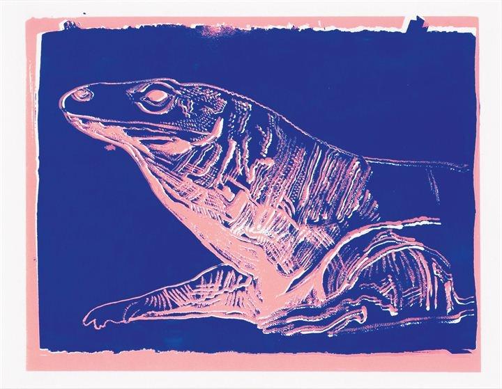 """WARHOL ANDY  """"Komodo monitor""""  36,2x45,7 serigrafia a colori, pezzo unico  Autentica della Andy Warhol Art Authentication Board.Inc  n. A133.015 in data 18 maggio 2001(su fotocopia)  Bibl.: F.Feldman, J. Schellmann (a cura di), """"Andy Warhol Prints. A Catalogue raisonné 1962-1987, New York 2003, pubbl a colori a pag. 281 n. IIIB. 59"""