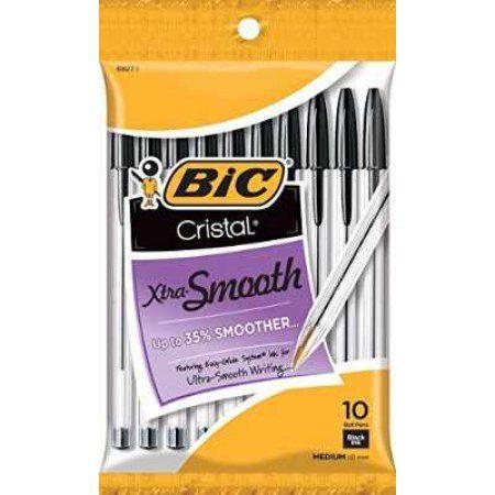 BIC Cristal Ball Pen, Medium, Black, 10-Pack - Walmart.com