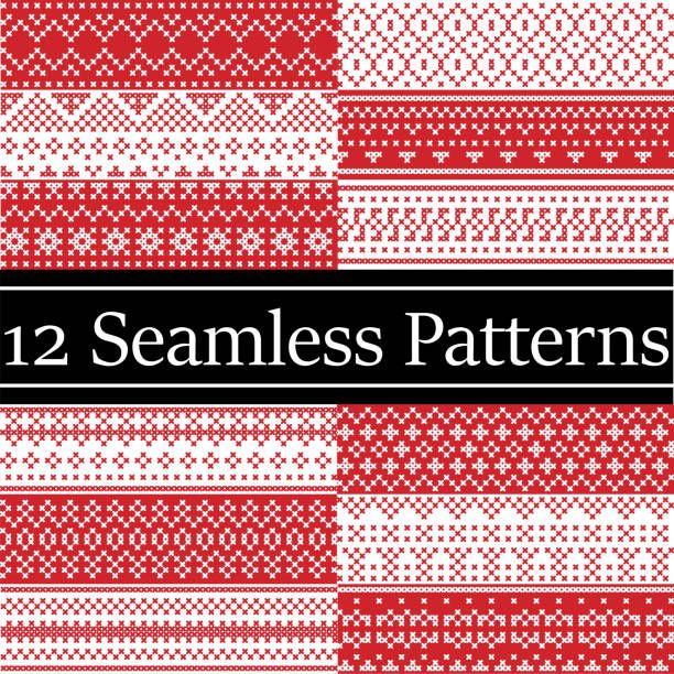 12 Nordic Style Vector Patterns Inspired By Scandinavian Christmas Festive Winter Seamless Pattern Cross Stitch Patterns Cross Stitch Christmas Cross Stitch