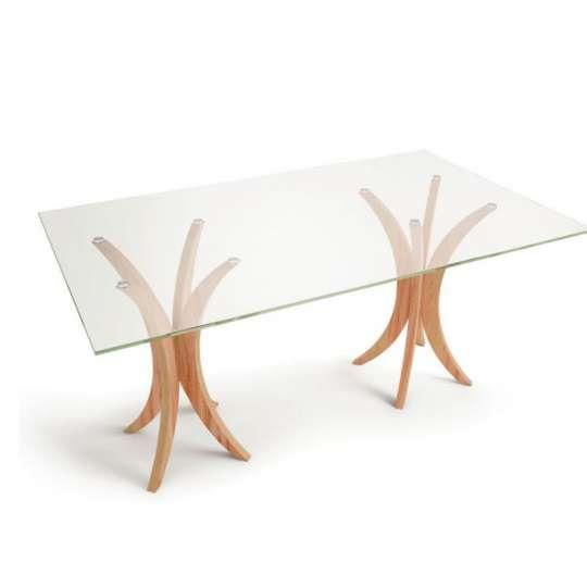 Mesa de Jantar Retangular para 6 Lugares com Tampo de Vidro Incolor